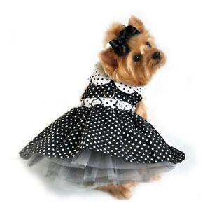 Doggie Design Black and White Polka Dot Dog Dress & Matching Leash Female XS