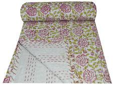 Indian Floral Print Kantha Quilt Handmade Bedspread Blanket Throw Twin Size