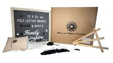 Felt Letter Board Sing Gray, 12x12 Rustic Wood Frame, 320 Black&White Changeable