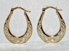 9CT YELLOW & WHITE GOLD OVAL CREOLE HOOP LADIES EARRINGS - UK HALLMARKED
