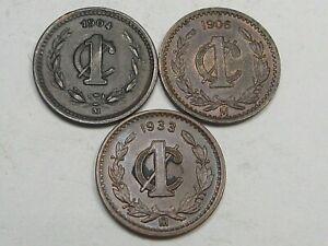 3 Better Grade 1 Centavos Mexico: 1904, 1906, 1933.  #12
