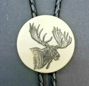 Scrimshaw Unisex Bolo Neck Tie Moose with leather lanyard and copper tips