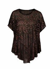 NEW PERUVIAN CONNECTION Anatolia Floral Burnout Relaxed Blouse Top raisin XL