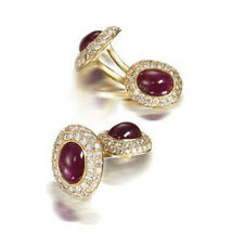 2.72CT NATURAL ROUND DIAMOND RUBY 14K SOLID YELLOW GOLD CUFF LINK  FOR MEN