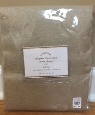 "NEW Pottery Barn Belgian Flax Linen Sheer 50"" x 96"" Drape NATURAL FLAX"