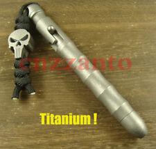 Totally Titanium Ti tactical ball point pen + Skull Titanium lanyard bead H506
