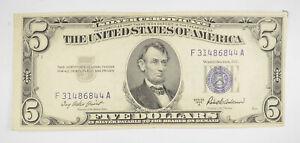 RARE - Crisp 1953-A - Silver Certificate $5 Blue Seal $5 Higher Grade! *096