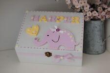 Baby Girl Keepsake Box Elephant Design Wooden Christening Gift Memory Chest