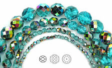 Czech Glass Fire Polished Round Faceted Beads blue Aqua Vitrail coated 16