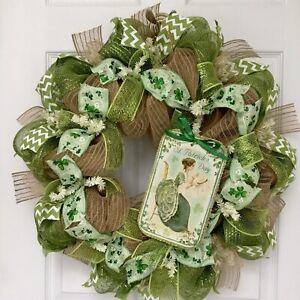 St Patricks Day Vintage Lady Handmade Deco Mesh Wreath