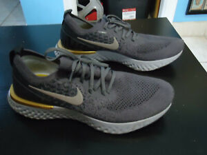 NIKE Epic React Flyknit Gray Black & Gold Men's Sneakers Size 11