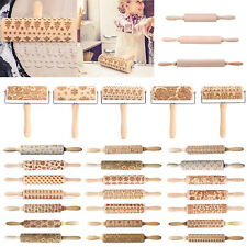 Christmas Wooden Embossing Rolling Pin Baking Cookies Dough Cake Engraved Roller