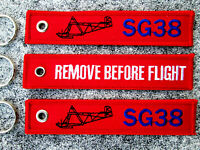 SG 38 Schulgleiter REMOVE BEFORE FLIGHT 3er SET Keychain /Avion / Aircraft /