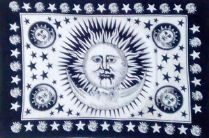Sun Moon Face Design Tapestry Small Wall Hanging Poster Cotton Fabric Fabulous