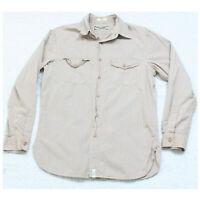 Ralph Lauren Long Sleeve Cotton Brown & White Man's Dress Shirt Men's Medium Top