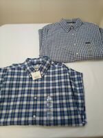 LOT OF 2 St. Johns Bay Blue Plaid Button Shirts Men's Long Sleeve size M New