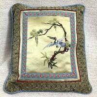Vintage Cinese Ricamo Cuscino Piccolo Cuscino Dorato Seta Airone Crane Orientale