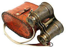 Maritime Solid Brass Engraved Binocular With Beautiful Leather Cover Binocular