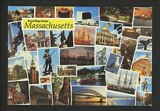 Postcard Greetings from Massachusetts MA ships whale statues bean pot bridge