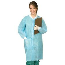 DISPOSABLE PROTECTIVE LAB COATS GOWNS BLUE 50/BOX LARGE