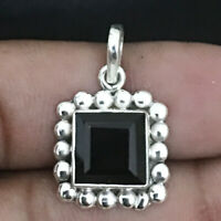 Genuine Black Onyx Handmade 925 Sterling Silver Pendant Necklace Fine Jewelry