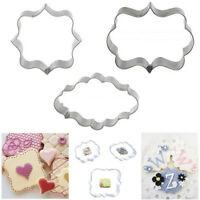 3PCS Stainless Steel Frame Biscuit Cookie Cutter Fondant Cake Mold Mould Set
