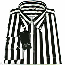 f41c381c Relco Mens Black White Striped Long Sleeved Shirt Mod Skin Retro Indie 60s M