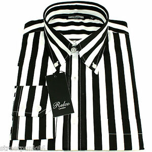 Relco Mens Black White Striped Long Sleeved Shirt Mod Skin Retro Indie 60s