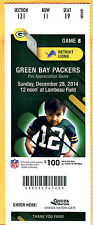 12/28/14 PACKERS/LIONS FOOTBALL FULL TICKET