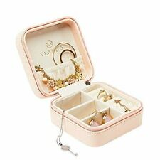 Vlando Small Faux Leather Travel Jewelry Box Organizer Display Storage Case F