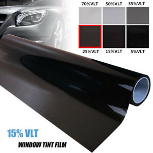 "Uncut Roll Window Tint 25% Dark Black Film 20"" Inches x 10'Feet Car Home Glass"