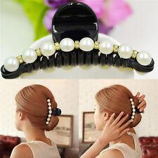 Women Lady Girl Pearl Crystal Hair Clip  Clamp Claw Haedpiece Hair Accessory M&C