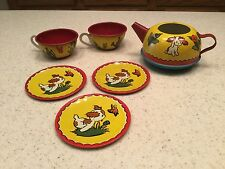 Vintage Ohio Art Tin Litho Tea Set Boy Girl Garden Dog In The Garden 6 Pieces