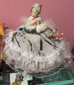 Vintage Porcelain Pin Cushion Half Doll with dress #6