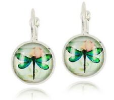 DRAGONFLY GLASS CABOCHON LEVERBACK EARRINGS 12MM