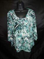 Chico's Size 2 L Ocean Blue Gray Print T Shirt 3/4 Sleeve Stretch Knit Draped