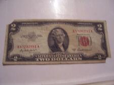1953 A RED SEAL $2 TWO DOLLAR BILL FANCY SER# A 47282541 A TORN CORNERS