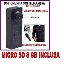 BOTTONE CON MICROCAMERA SPIA CIMICE VIDEO FOTO NASCOSTA MICRO CAMERA + SD 8GB