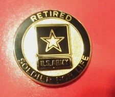 Retired Army Soldier for Life Regulation Lapel Pin ( Made in America )