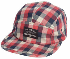 Fourstar HEYDT CAMPER Mens Adjustable Buckle Back Hat Washed Red Check NEW