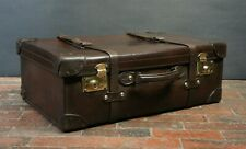 Classic English Vintage Chestnut Brown Large Leather Belted Motoring Suitcase