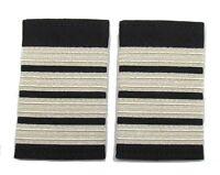 Epaulette Pilot Captain First officer Silver 4 Bars On Black R318