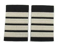 Epaulette Pilot Captain First officer Silver 4 Bars On Black R318
