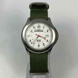 Timex Expedition Indiglo Wr50M Analog Vintage 2004 Day Date Green Military Strap