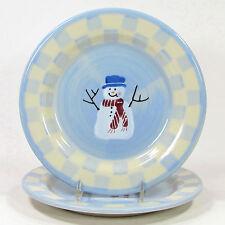 "Hartstone Pottery SNOW PEOPLE 8"" Salad Dessert Plate Set 2P Snowman Double Check"