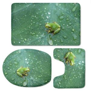 3pcs/set Snails Frog Violet Toilet Covers Rug Bathroom Mats Non Slip Padded Gift
