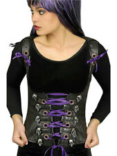 Kostüm für Erwachsene Corsage Schwarz-Violett mit Totenköpfen Karneval Party