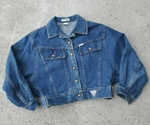 Vintage 80s 90s Guess Georges Marciano USA  CROPPED Trucker Denim Jacket 10827