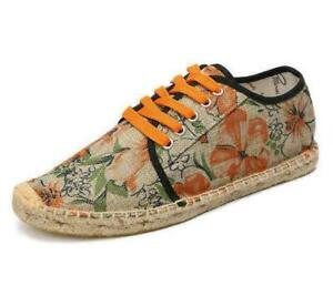 Mens  Hemp Rope Espadrille Stitching Floral Canvas Lace Up Loafers Casual Shoes