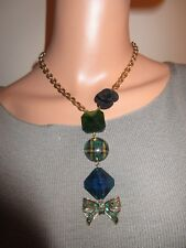 Betsey Johnson Green Bow Tartan Plaid Statement Necklace Blue Black Rose Superb